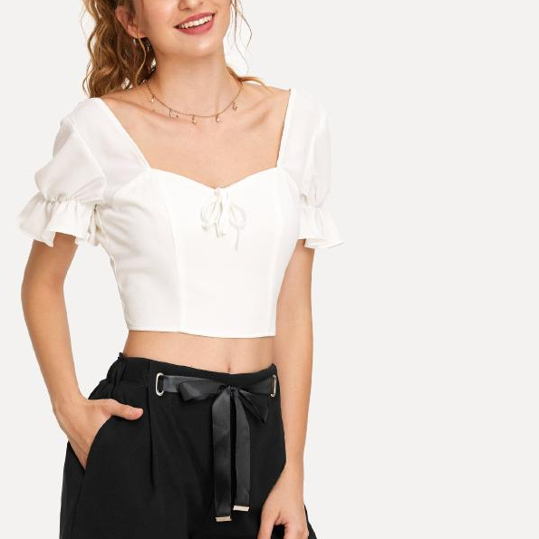 New wide leg trousers go well with loose elastic waist to show slim high waist bow-tie casual shorts