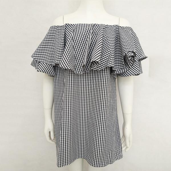 Ruffled word collar loose pregnant plaid dress