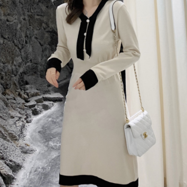 Knitted dress autumn schoolgirl waist was thin temperament mid-length sweater a-line skirt apricot