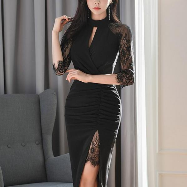 Summer new dress Slim slit women's bag hip one step skirt