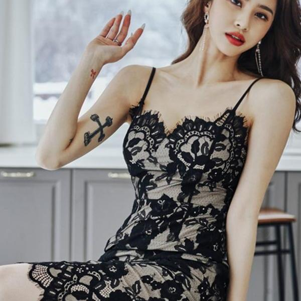Summer women's dress new sexy temperament eyelashes lace nightclub mid-length suspender skirt