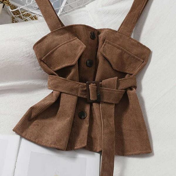 Fashion buttoned corduroy sling waist corduroy vest vest top