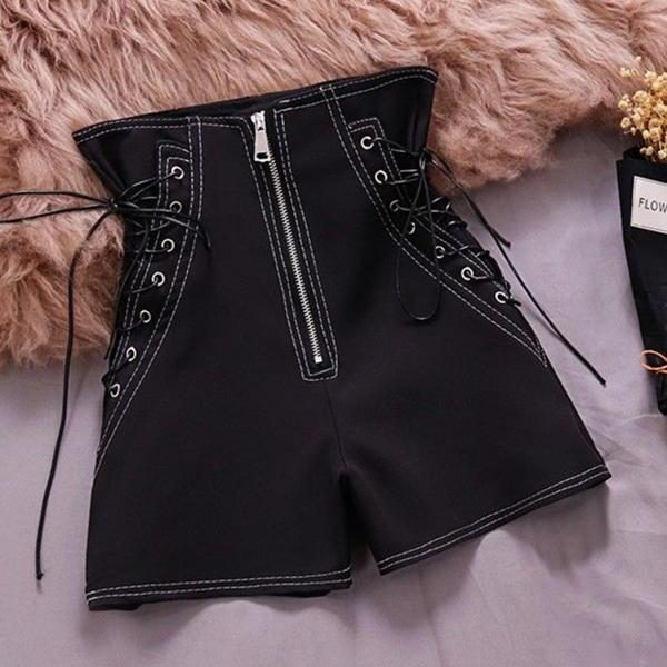 Summer new style high-waist lace-up fashion wide-leg pants all-match solid color casual shorts