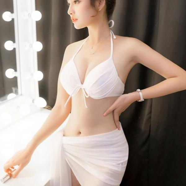 New style swimsuit three-piece seaside white sexy bikini swimwear