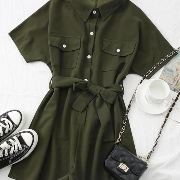 Summer new fashion all-match polo collar waist tie short-sleeved jumpsuit wide-leg pants overalls