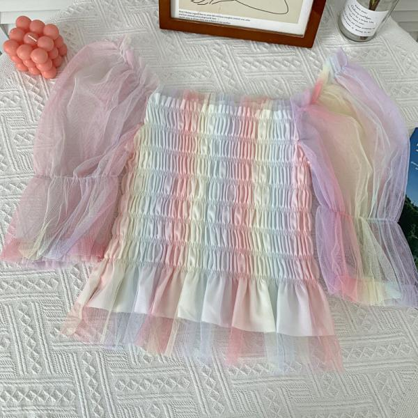 Summer new all-match rainbow-colored mesh pleated thin puff sleeve short top