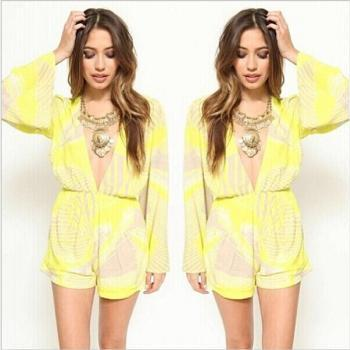 V-neck long-sleeve printing jumpsuits shorts
