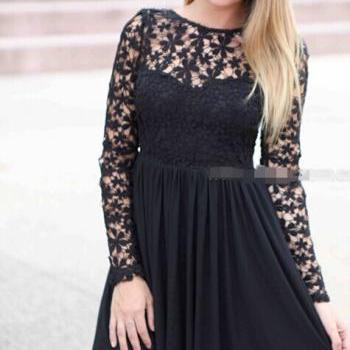 Long sleeve lace chiffon backless sexy dress