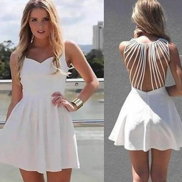 Cute hollow out net white dress
