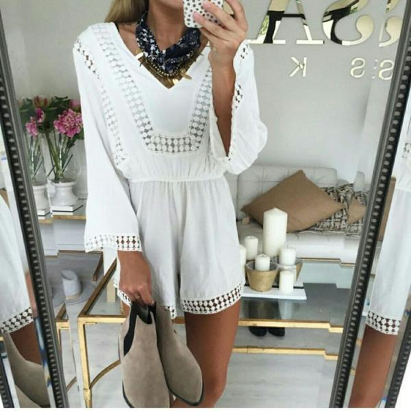 on sale SEXY LACE WHITE LONG-SLEEVED V-NECK CULTIVATE ONE'S MORALITY CONJOINED DIVIDED SKIRTS