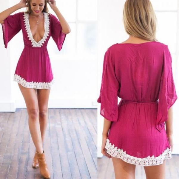 on sale DEEP V-NECK LACE MINI DRESS