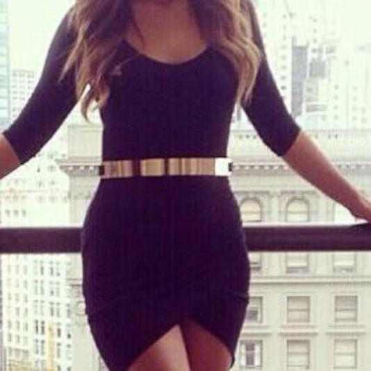 Black Bodycon Dress With Gold Belt