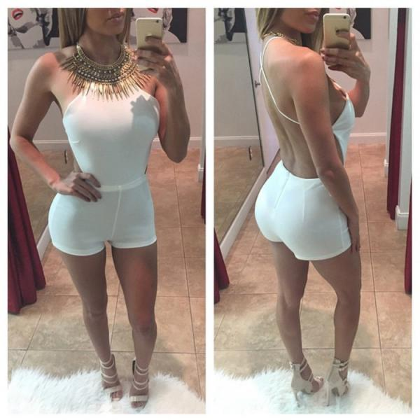 CUTE WHITE SEXY BACKLESS JUMPSUIT ROMPER