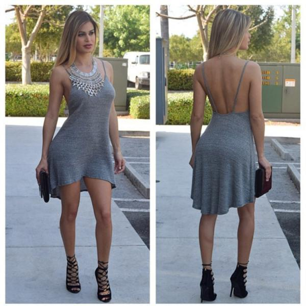 SLEEVELESS IRREGULAR SEXY BACKLESS DRAPE CONDOLE BELT DRESS