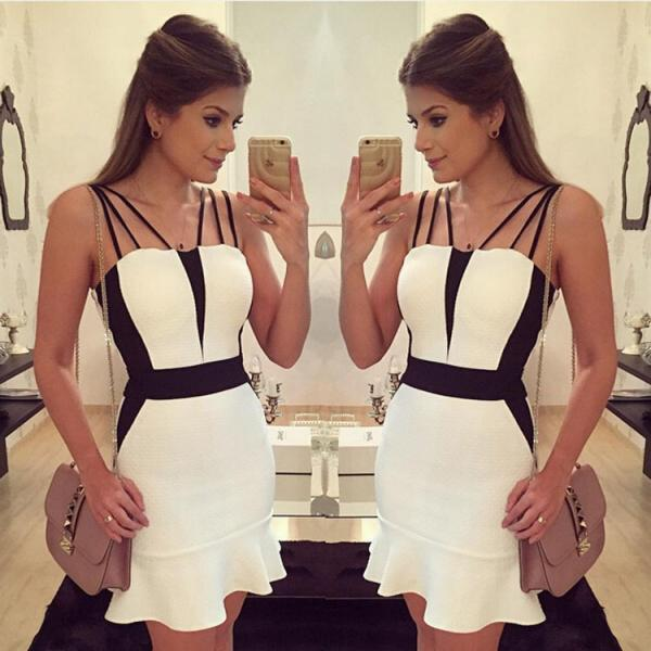 CUTE BLACK WHITE DRESS