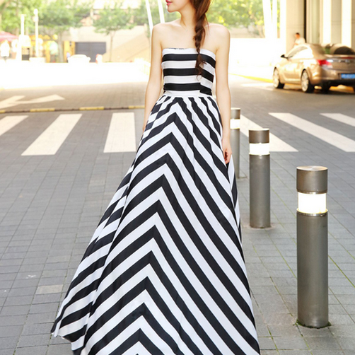Cute strapless stripe long dress