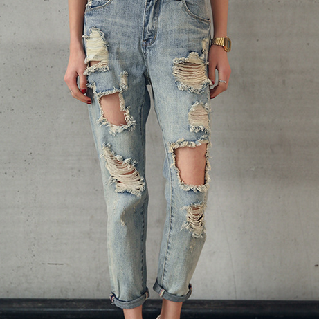 Heavily Distressed Cropped Jeans