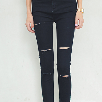 Black waist jeans female knee holes denim trousers pencil pants feet