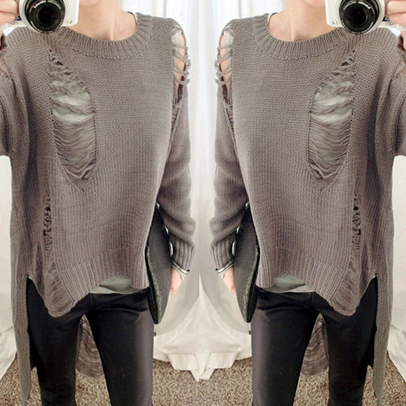 FASHION HOLE IRREGULAR SWEATER TOP SHIRT