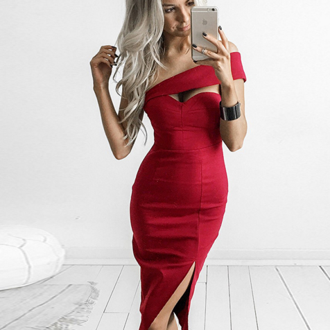 Red One-Shoulder Bodycon Pencil Dress , Party Dress, Graduation Dress, Homecoming