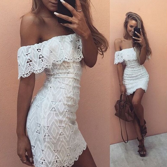 Off-Shoulder Lace Bodycon Dress with Scalloped Details, Graduation Dress, Party Dress