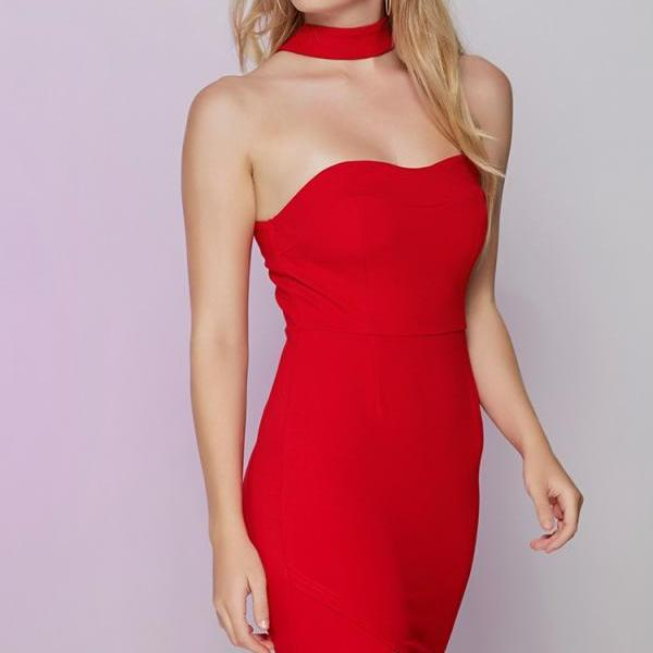Strapless Sweetheart Neckline with Choker Bodycon Dress, Graduation Dress, Party Dress