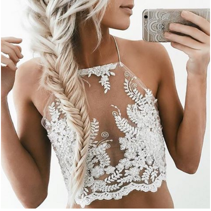 Floral Lace Embroidered Mesh Halter Cropped Top