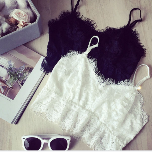 hot lace top black white color
