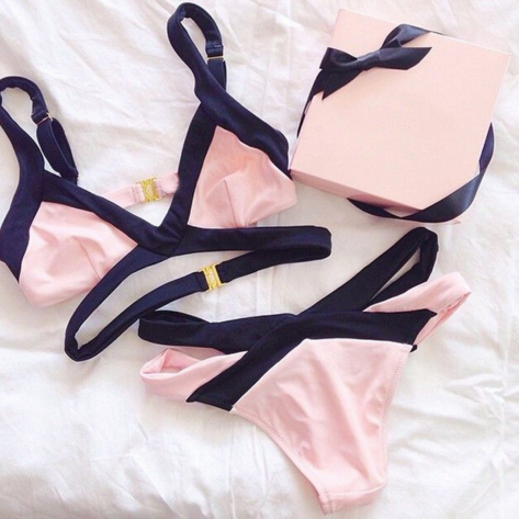 PINK CONTRAST TWO PIECE BIKINI