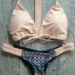 PINK BRAID KNOT TWO PIECE BIKINI