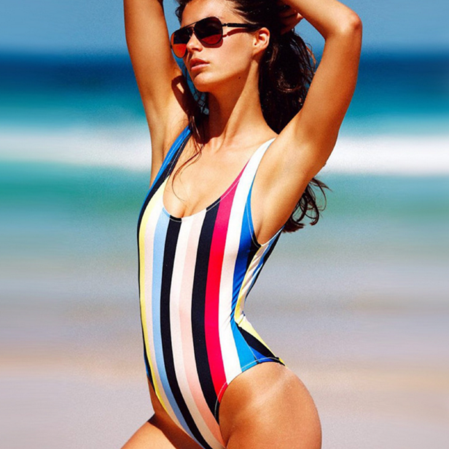 COLORFUL RAINBOW STRIPE ONE PIECE BIKINI