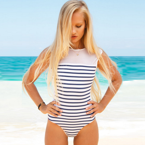 STRIPE WHITE GAUZE ONE PIECE BIKINI
