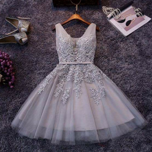 Sleeveless Floral Lace Appliques Short A-Line Tulle Dress - Homecoming, Party, Evening
