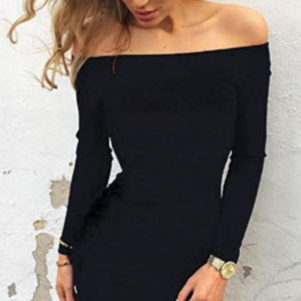 Autumn and winter Long Sleeve Dresses Sexy Off Shoulder Bodycon Party Dresses Women Dress Robe Vestidos plus size