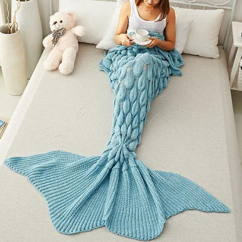 Mermaid Party to Be Adored Blanket Scales shape Blue