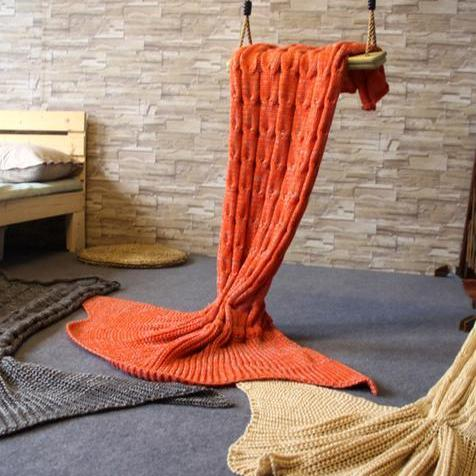 Knitted Mermaid Sofa Blanket Autumn&Winter Orange
