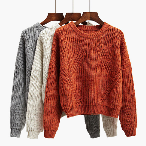 Thick Knitted Crew Neck Long Cuffed Sleeves Sweater