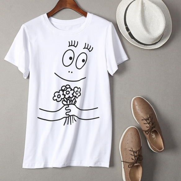 NEW fashion print cartoon round neck short T-shirt