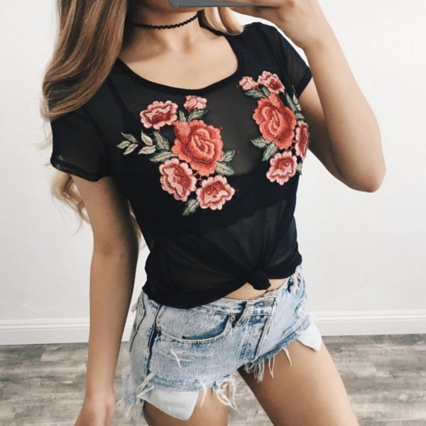 Floral Embroidered Black Mesh Short Sleeved Top