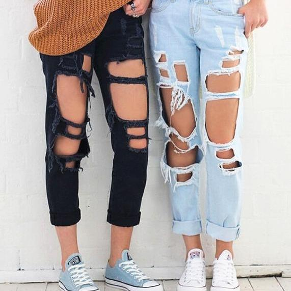 Heavily Distressed High Waisted Mom Jeans in 6 Colors